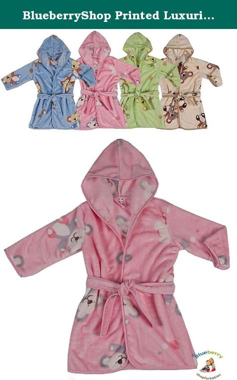 1-7Yrs Dressing Gowns 1-7 Yrs 1-2 Yrs Robe BlueberryShop Printed Luxurious Hooded Soft Warm and Fluffy Velour Bathrobe Beige