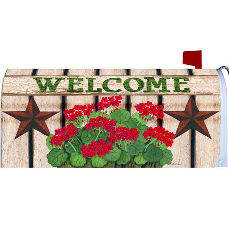 Patriotic Still Life Mailbox Cover Mailbox Covers Geraniums Distressed Painting