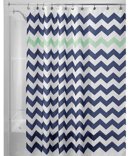 Navy Mint Chevron Shower Curtain Chevron Shower Curtain Fabric Shower Curtains Shower Curtain Polyester