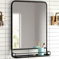 Ashtyn Accent Mirror With Shelves Bathroom Mirror With Shelf Black Bathroom Mirrors Mirror With Shelf
