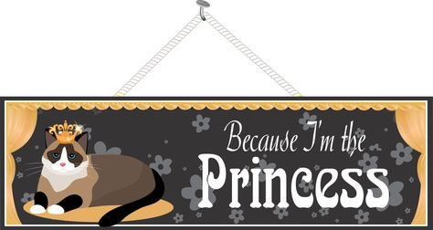 """""""Because I'm the Princess"""" Quote Sign in Black with Crown, Cat and Gold Curtains"""