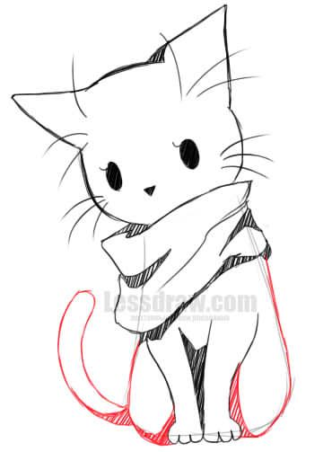 Anime Cat Sketch : anime, sketch, Anime, Lessdraw, Kitty, Drawing,, Drawings, Sketches,, Simple, Drawing