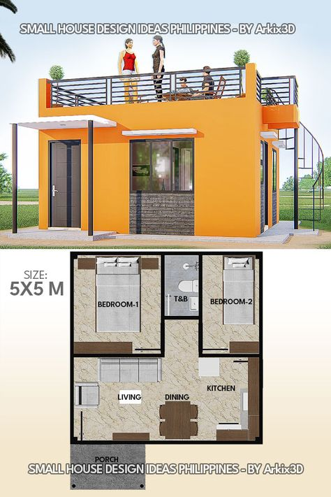 Small House Design With Roof Deck House Construction Plan Small House Layout Architectural House Plans