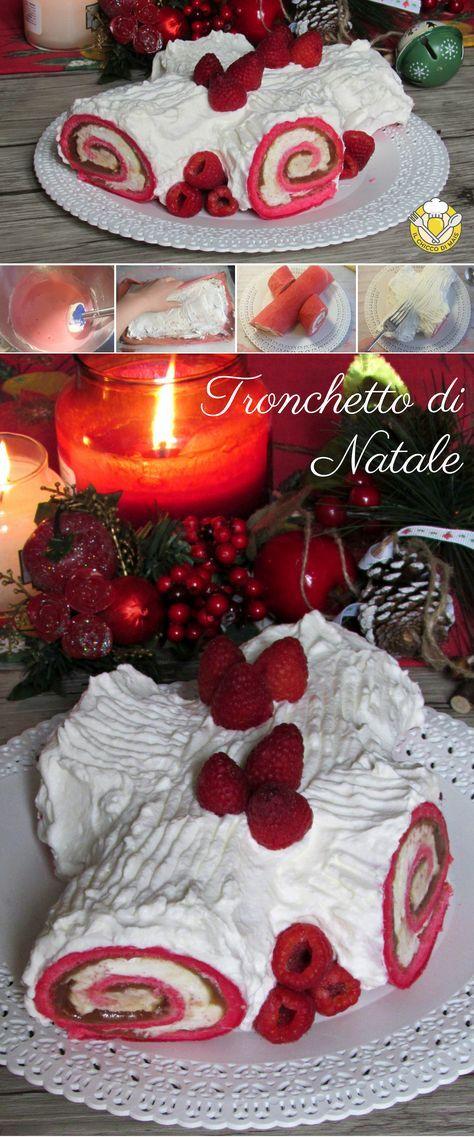 Tronchetto Bianco Di Natale.Tronchetto Di Natale Bianco E Rosso Farcito Con Crema Al Mascarpone
