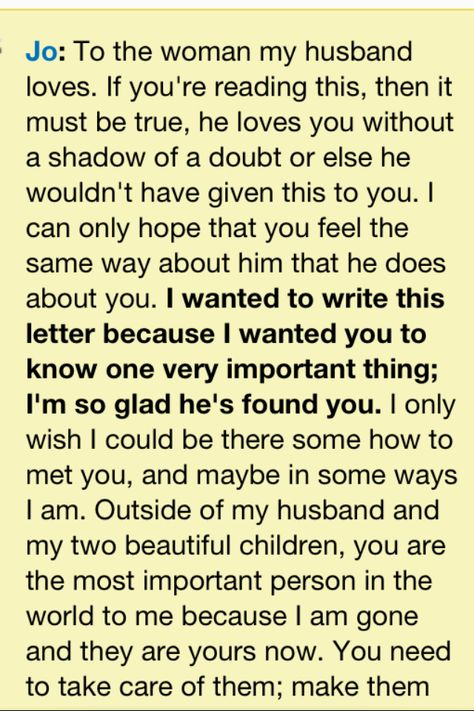 Letter to her from the movie Safe Haven, love this movie of - love letters for her