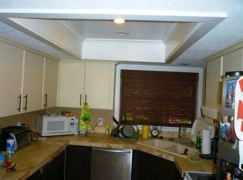 Need To Revamp My Kitchen Ceiling Lighting Remove Drop Down And Flourescent Lights Frame With Molding Update Modern