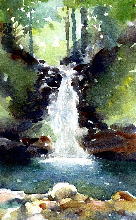 Mountain Waterfall Watercolor Landscape Paintings Landscape