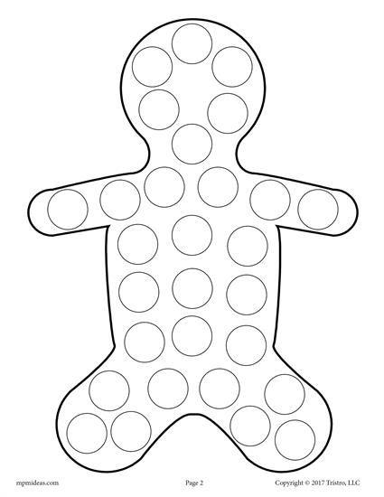 10 Christmas Do A Dot Printables Gingerbread Crafts Do A Dot Gingerbread Man Activities