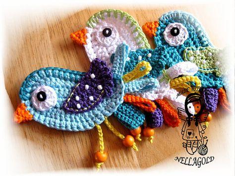 Crochet PATTERN Applique Little Bird DIY von NellagoldsCrocheting