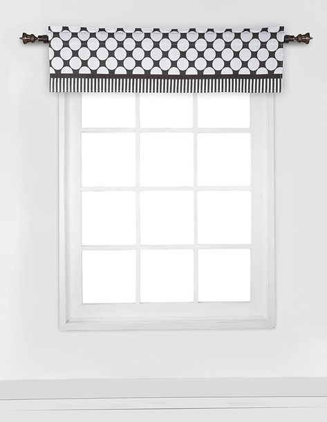 Bacati - Dots Stripes Black/White Window Treatments Curtain Panel/Valance Sold Individually (Multiple Prints to choose from) - Window Valance