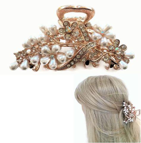 Vintage Hair Barrettes Dark Burgundy Barrette with Diamante Flower