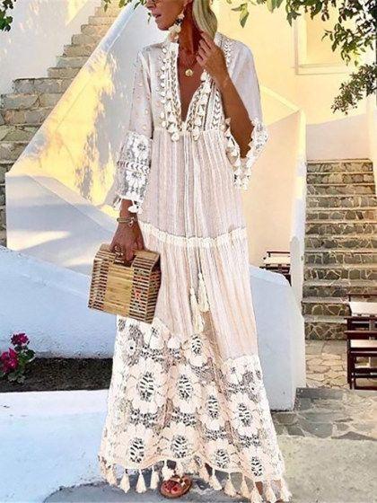 Plus Size White Boho Maxi Dress