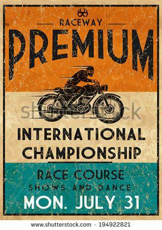 Vintage Motorbike Race Hand Drawing T Shirt Printing Badge