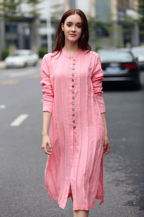 Final Sale 【only S left】linen dress, dress, pink dress, shirt dress, down collar dress