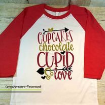 Cupcakes Chocolate Cupid And Love Youth Valentineu0027s Shirt