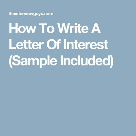 Best 25+ Letter of interest sample ideas on Pinterest - letter of interest sample