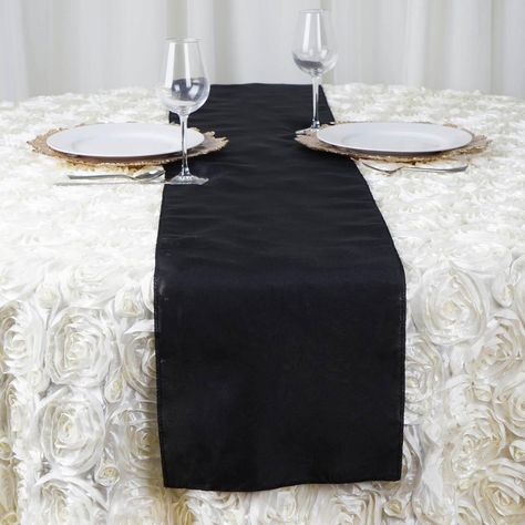 12 X108 Black Polyester Table Runner Table Runners Tulle Table Runner Wedding Reception Table Decorations