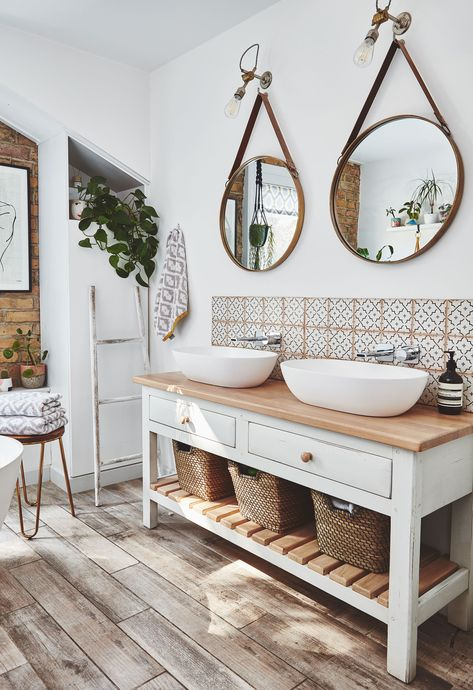This bathroom sanctuary is a grown-up space to relax in – we can't get enough of the gorgeous double sink. Rustic Bathroom Shelves, Boho Bathroom, Bathroom Renos, Bathroom Styling, Bathroom Interior Design, Modern Bathroom, Bench In Bathroom, Bathroom Double Sink Vanities, Round Bathroom Mirror