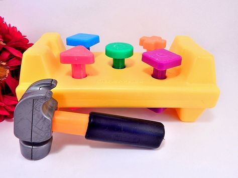 Fisher Price Tap and Turn Yellow Work Bench Vintage 1986 Classic Retro Pounding…