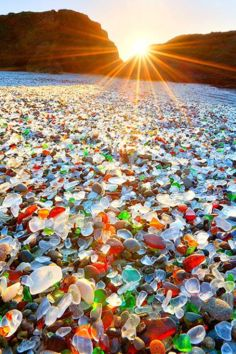 Glass Beach is a beach in MacKerricher State Park near Fort Bragg, California that is abundant in sea glass created from years of dumping garbage into an area of coastline near the northern part of the town.  In the early 20th century, Fort Bragg residents threw their household garbage over cliffs owned by the Union Lumber Company onto what is now Glass Beach, discarding glass, appliances, and even vehicles. Locals referred to it as The Dumps. Fires were lit to reduce the size of ...