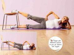 Besoin d'un tapis, d'une chaise et de pas mal de courage ! Voilà un super exercice pour muscler les adducteurs (intérieur des cuisses). Vous vous allongez sur le côté, d'une seule ligne. Ne roulez pas sur l'arrière. Vous appuyez fort le pied de la jambe...