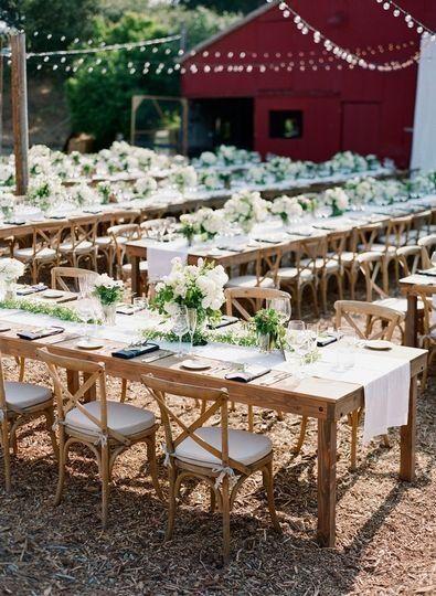 Outdoor Wedding Reception Idea Long Rectangle Tables With Greenery Centerp Rectangle Table Centerpieces Outdoor Wedding Reception Wedding Table Centerpieces