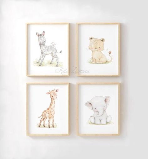 African friends to accompany your baby. Set of four prints (unframed) Its a reproduction of my original illustration printed with detailed on special watercolor paper 200 g. honed natural white, acid-free and 100% cellulose, gives appearance of original painting. Watermark will not
