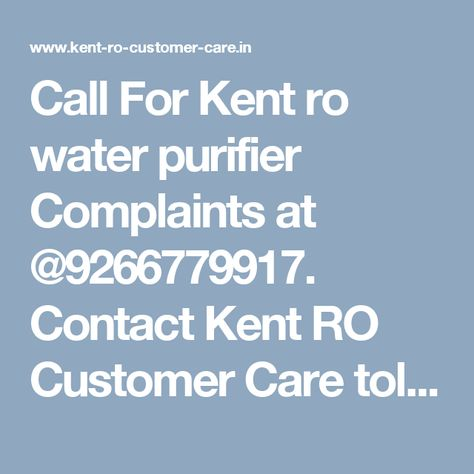 Best Kent Ro Customer Care Support Services Images On