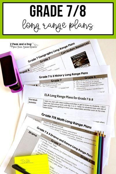 Grade 7/8 Long Range Plans Ontario Curriculum   ELA   Ontario