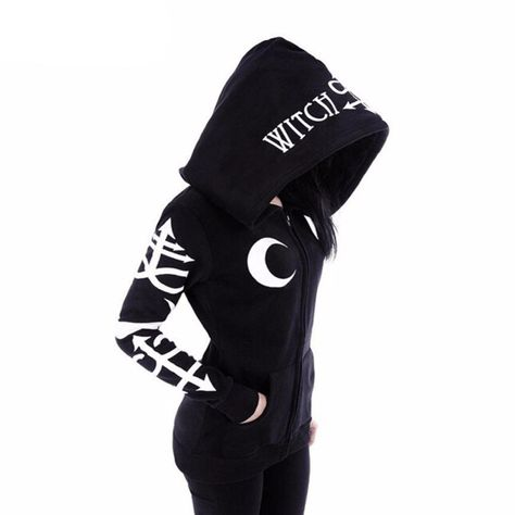 Gothic Girl Coven Witchcraft Oversized Hood Gothic Alternative Goth Black Hoodie - Online Fitness Shop - Top Designer Brands Up to Off.