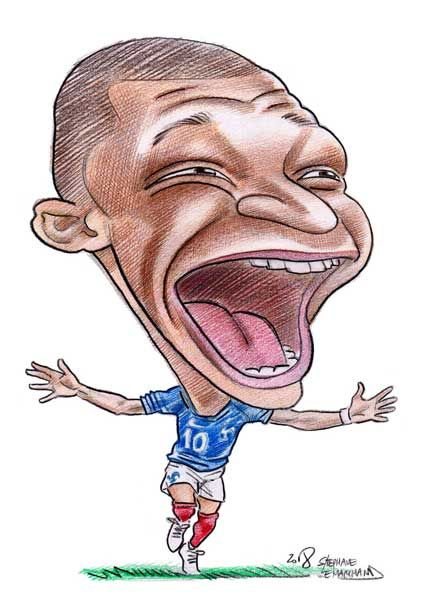 Mbappe Foot Coupedumonde Caricature Humour Dessin