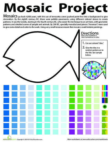 Make A Fish Mosaic With Images Art Worksheets Art Classroom
