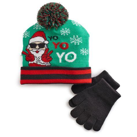 8c0b9000834 Boys 4-20 Santa Light-Up Hat   Gloves