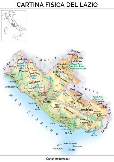 Cartina Lazio E Campania.Pin Su Lazio Fisico Geografia E Mappe