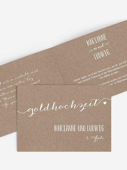 einladungskarten für die goldene hochzeit - edel