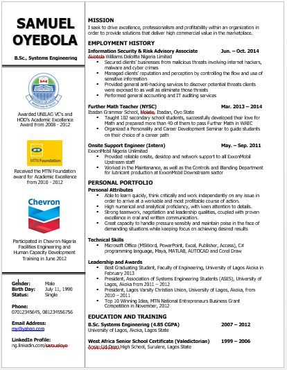 Image Result For Sample Of Curriculum Vitae In Nigeria Curriculum Vitae Curriculum Systems Engineering