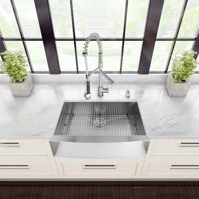 Vigo All In One 30 L X 22 W Farmhouse Apron Kitchen Sink With Faucet Kitchensink Sink Stainless Steel Farmhouse Kitchen Sinks Farmhouse Sink Kitchen