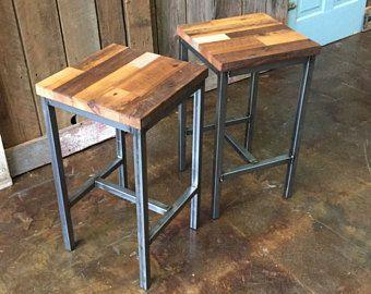 Reclaimed Wood Patchwork Barn Wood Bar Stools Industrial Stool