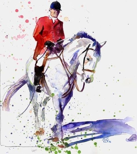 Giclee PRINT Thoroughbred Equine Painting foxhunt Horse Art Warmblood watercolor