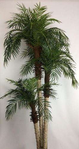 One 4 Foot Artificial Triple Phoenix Palm Tree Bush In Pot Indoor