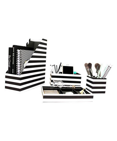 Blu Monaco Black White Stripe Four Piece Desk Organizer Set