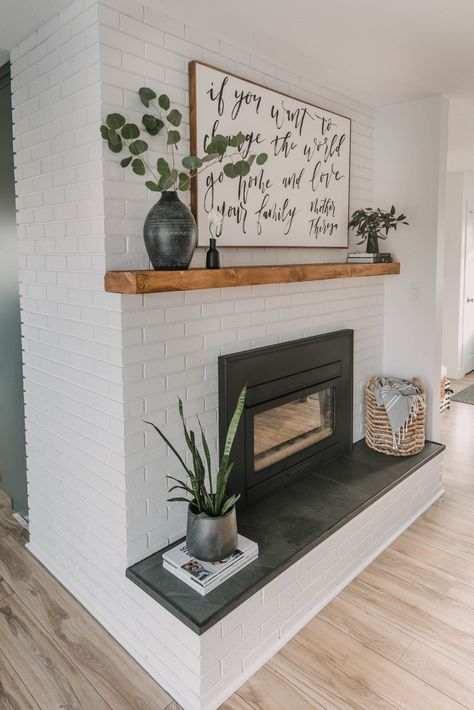 DIY Brick Fireplace Makeover - Lemon Thistle Modern Rustic DIY Fireplace Makeover with painted brick Painted Brick Fireplaces, Paint Fireplace, Brick Fireplace Makeover, White Fireplace, Fireplace Design, Modern Fireplace Decor, Brick Fireplace Remodel, Painted Brick Walls, Rustic Fireplaces