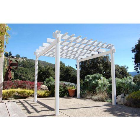 12x24 FT White Pergola Vinyl Outdoor Patio Garden Shed Plans Accessory Kit SALE