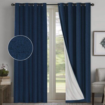 Modern Rustic Interiors Mike Solid Color Max Blackout Thermal Grommet Curtain Panels Curtain Colour Navy Size Per Panel 52 W X 108 L Insulated Curtains Colorful Curtains Cool Curtains