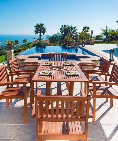 Malibu Curve Seven Piece Outdoor Dining Set Zulily Zulilyfinds Patio Furniture Dining Set Patio Dining Set Target Patio Furniture