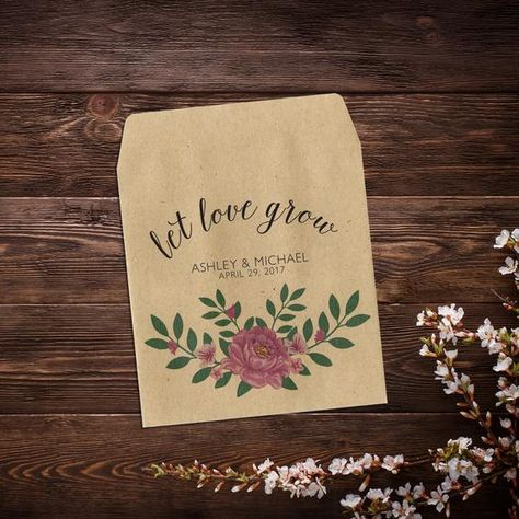 Let Love Grow Favor, Wedding Seed Packets, Pink #seedpackets #weddingfavors #weddingseedfavor #letlovegrow #weddingseedpackets #rusticwedding #plantfavor #peonypink #seedpacketfavors #personalizedfavor #seedpacketfavor #customseedpacket #flowerseedpackets