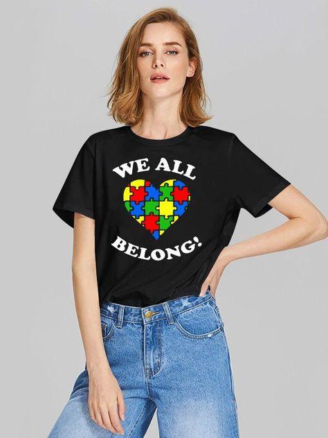 Dresswel Women We All Belong Heart Puzzle Graphic Autism Awareness T-Shirts Tops