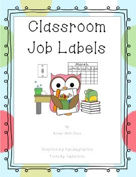 Now 30 classroom jobs with owl graphics. Bathroom monitor job labels are gender specific. These labels have one with a girl and one with a boy. Job labels include image and name of job
