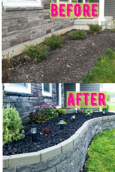 A beautiful diy Retaining wall idea to create a raised bed in front of the house. Easy design filler allows for low maintenance Rock instead of mulch. The border edging / landscape can make for perfect garden curb appeal for any front yard. Landscape Edging, House Landscape, Garden Edging, Easy Garden, Landscape Art, Landscape Paintings, Landscape Photography, Garden Bar, Front Yard Landscape Design