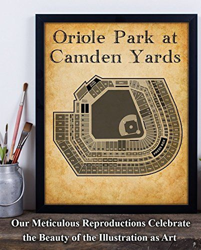 Oriole Park At Camden Yards Baseball Seating Chart 11x14 Unframed Art Print Great Sports Bar Decor And Gift For Bas Sports Bar Decor Bar Decor Camden Yards
